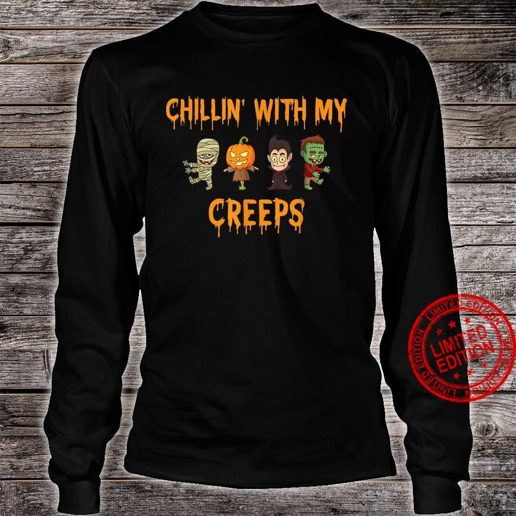 Chillin' With My Creeps Halloween Zombie Vampire Shirt long sleeved