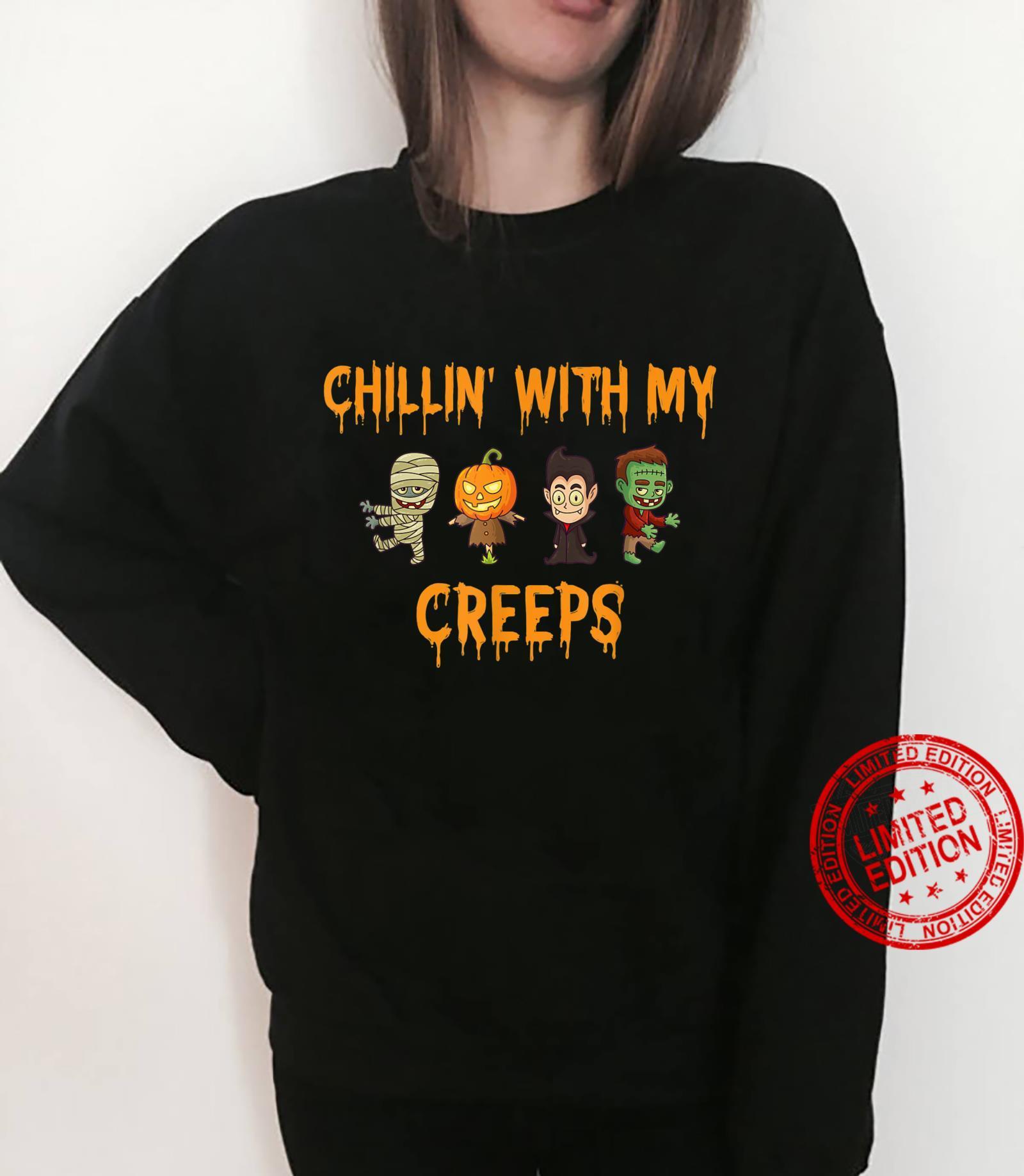 Chillin' With My Creeps Halloween Zombie Vampire Shirt sweater