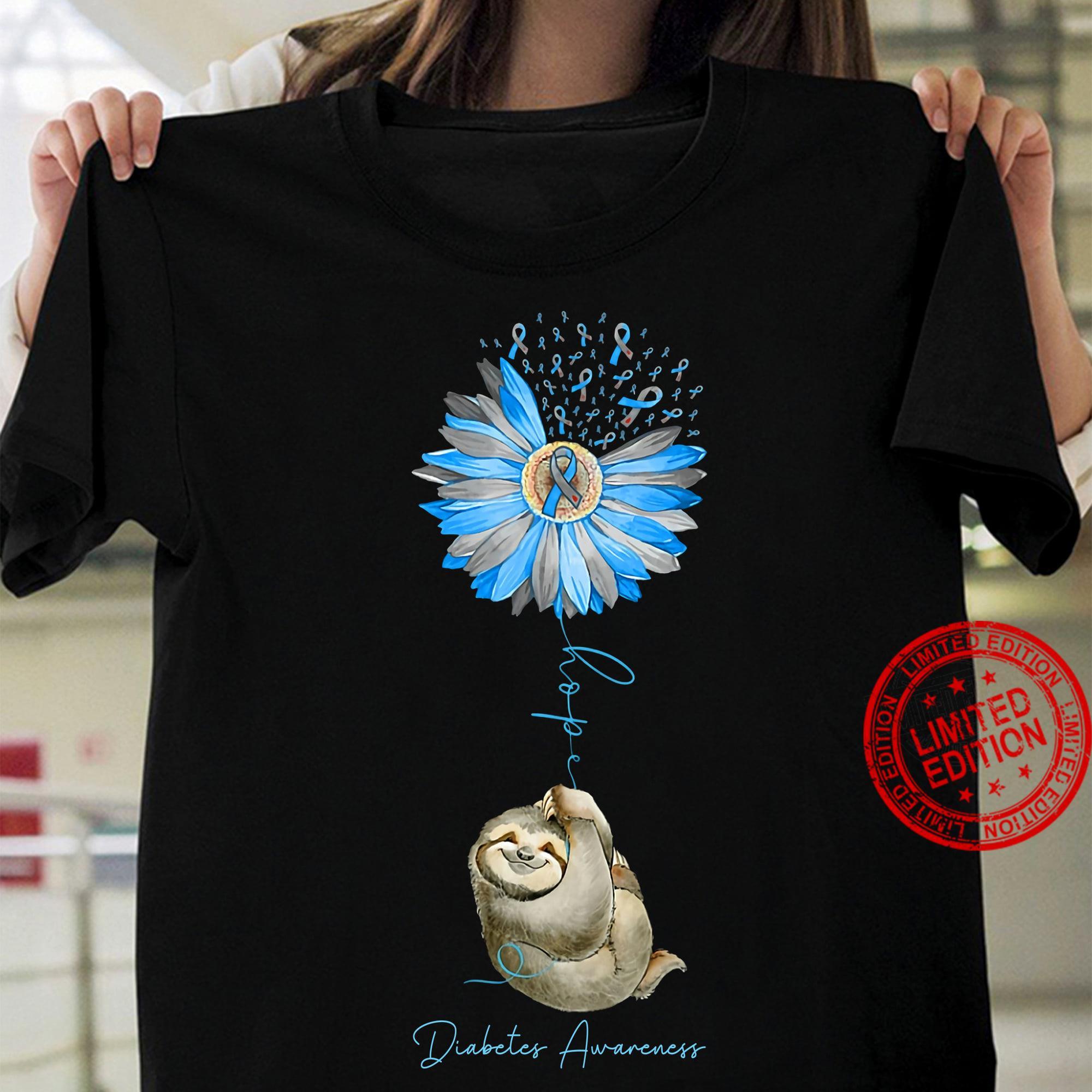 Sloth Hope Diabetes Awareness Shirt