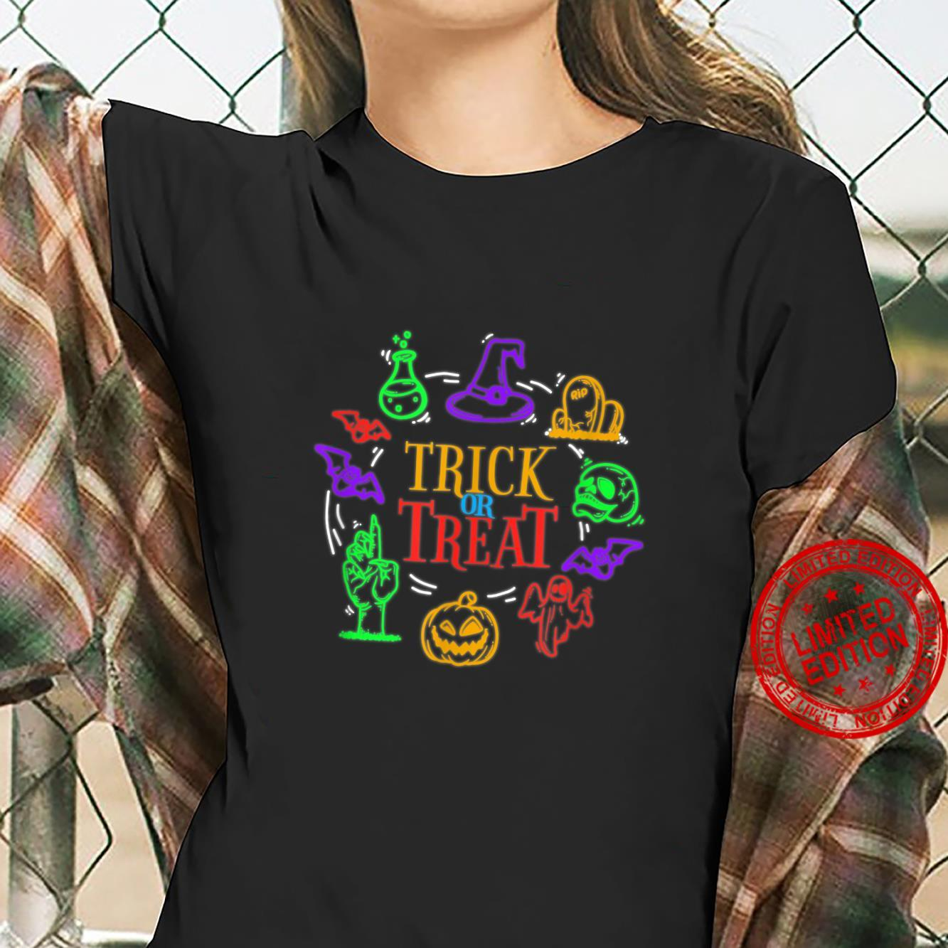 Trick Or Treat Halloween Pumpkin and Witch Hat Shirt ladies tee
